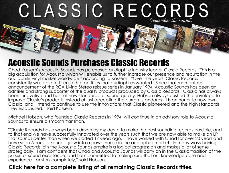 Vinyl Records, SACDs, DVD Audio, Audiophile Equipment|Acoustic Sounds