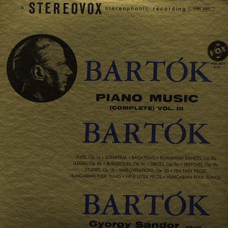 Gyorgy Sandor - Bartok: Piano Music (Complete) Vol. III