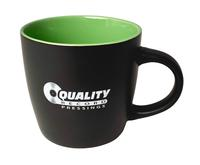 Quality Record Pressings - Black Matte/Lime Green QRP Coffee Mug