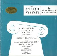 Milstein, Walter, New York Philharmonic Orchestra-Mendelssohn:  Concerto In Em